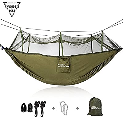 Forbidden Road Hammock Single & Double Mosquito Net Camping Hammock Capacity 500lbs Portable 0.73lbs for Outdoor Hiking Backpacking Travel Backyard Ropes Carabiners Included - Green Blue Pink