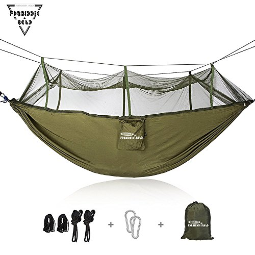Price comparison product image Forbidden Road Hammock Single & Double Mosquito Net Camping Hammock Capacity 500lbs Portable 0.73lbs for Outdoor Hiking Backpacking Travel Backyard Ropes Carabiners Included - Green Blue Pink