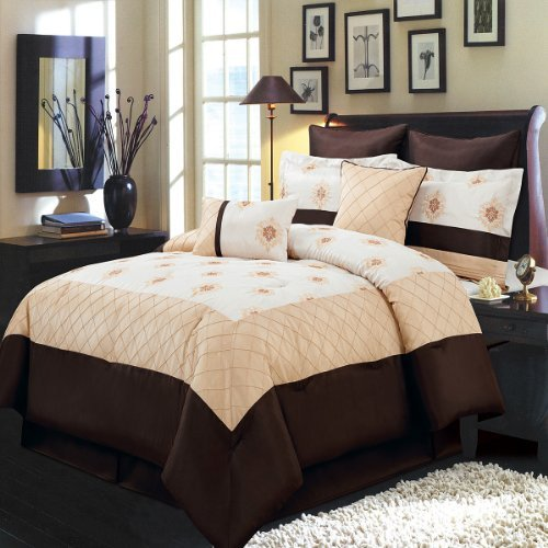 Madison Gold, Ivory and Chocolate Olympic Queen size Luxury 8 piece comforter set includes Comforter, bed skirt, pillow shams, decorative pillows