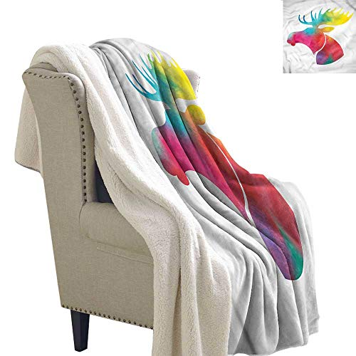 - Baby Blanket Moose Watercolor Style Animal Motif Washable Shaggy Fleece Blanket W59 x L78