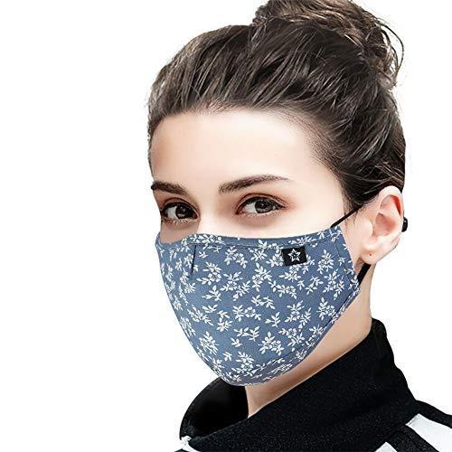 Cotton Dust Face Mask with replaceable PM2.5 Activated Carbon Filter Air Pollution Mask for Running, Traveling, Cycling Washable and Reusable Warm Windproof Mask (5)