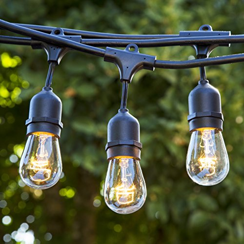 [Proxy Lighting 48 Foot Weatherproof Outdoor String Lights - UL Listed - 15 Hanging Sockets - Perfect Patio Lights - Black - 16 11S14 Incandescent Bulbs Included] (Strand Lighting Light)