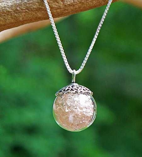 (Recycled Antique Pink Depression Glass Orb Necklace)