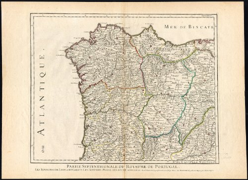2 Antique Maps-PORTUGAL-GIBRALTAR-SPAIN-IBERIAN PENINSULA-MOROCCO-Jaillot-1781 (Map Of Spain And Portugal And Morocco)