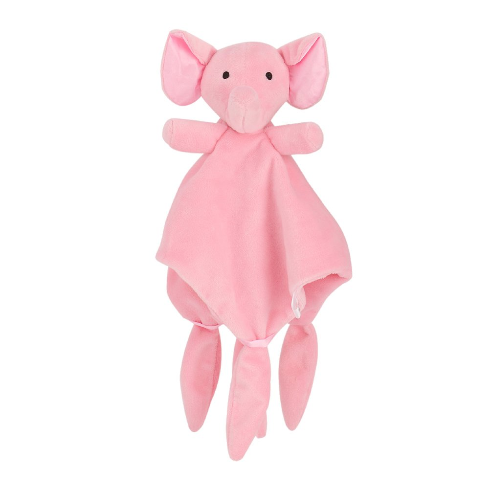 TOYMYTOY Baby Security Blanket Newborn Comforter Toy Comfort Blanket Plush Animal Security Blankie (Pink Elephant)