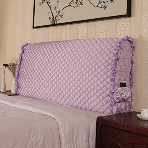 (Taiyucover Anti-Wrinkle Bed Headboard Slipcovers;Shockproof Bed Head Side Protectors for Kids Children Bedroom Headstock Cover Case (Queen, Purple))