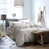 Pinstripe Luxury Pure Linen Bedding Duvet Cover Set King Size with 2 Matching Button Pillow Shams, Soft and Breathable French Country Old Fashion Home Bedding Quilt Cover Set