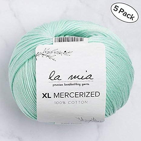 5 madejas de lana 100% mercerizado La Mia, tamaño XL, algodón ...
