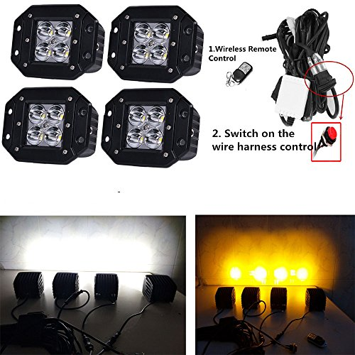 Night Break Light 24w Flush Mount Led Fog Lights for Trucks White Amber Alternately Flash About 50 Modes Strobe Led Pods by Wireless Remote or Switch for Offroad ATV SUV Free Wire Harness (Pack of 4)