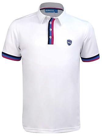 b85486c1 Bunker Mentality CMax Tri Stripe Tech Golf Polo Shirt - White:  Amazon.co.uk: Clothing