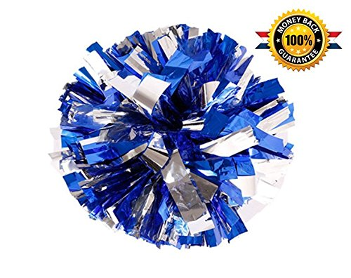 PUZINE Pack of 2 Cheerleading Metallic Foil & Plastic Ring Pom Poms Cheerleading Poms (Blue and Silver) -