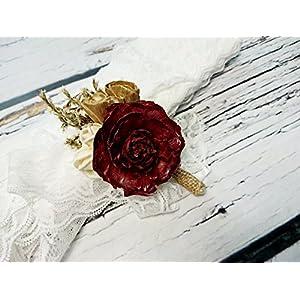 Ivory Brown Burgundy Gold Rustic Wedding Boutonniere Sola Flowers Cedra Rose Burlap 2