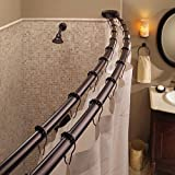 Double Curved Shower Curtain Rod Adjustable Crescent Fixture, Oil Rubbed Bronze