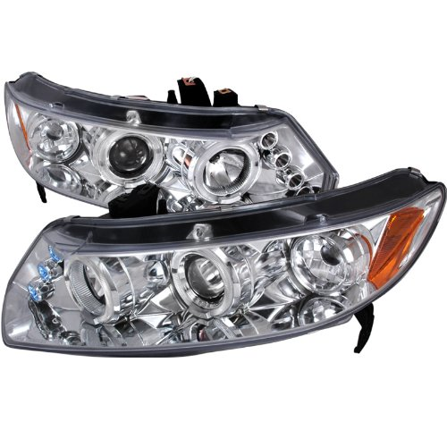 (Velocity Concepts For Honda Civic 2Dr Chrome Clear Led Projector Halo Head Lights)