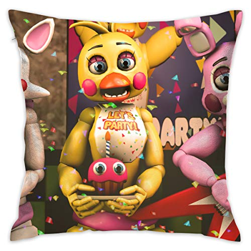 (Reneealsip 16.5-Inch Five Nights at Freedy's Party FNAF Girls of Pizzeria Throw Pillow for Home Decor Square Decorative Pillow)