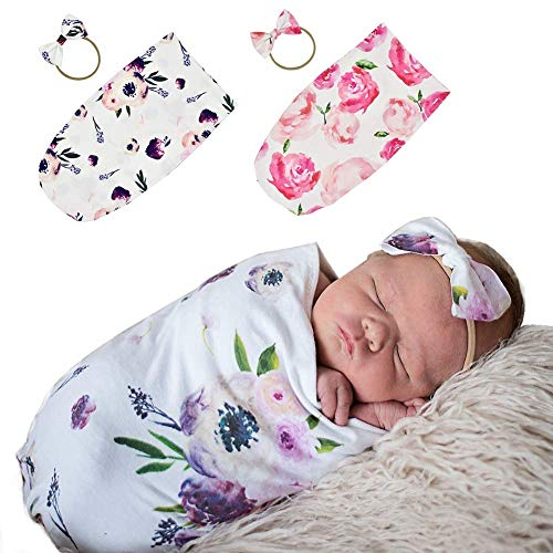 Adeimoo Newborn Swaddle Sack Wrap Headband Set Cocoon Soft Stretchy Receiving Blanket Newborns Photo Props Baby Shower Gift (2 Pack Flower Sacks with - Cocoon Newborn