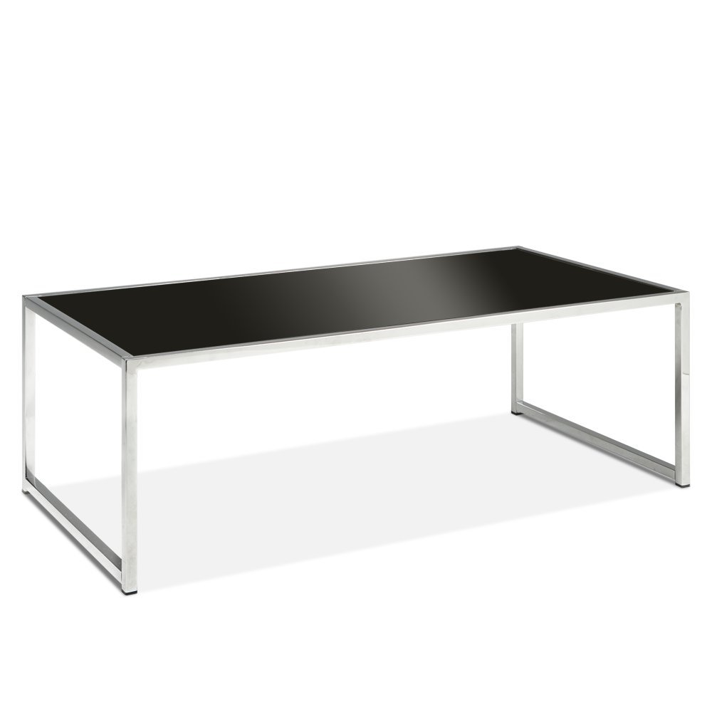 AVE SIX Yield Modern Coffee Table with Chromed Steel Base, Black Glass Top by Avenue Six