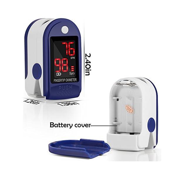 Pulsómetro Digital Oxímetro de Pulso Pulsioxímetro de Dedo con Pantalla LED, Monitor de Frecuencia Cardíaca y Medidor de… 6