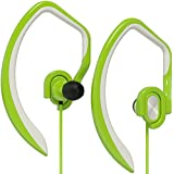 Artix Sport Workout Earbuds Headphones XJR, Built-In Microphone In-Ear Stereo Lightweight Wired Sweat-Proof Earphones, For Work, Travel, Running, Exercise, works w/Smartphones, iPhone Android Green