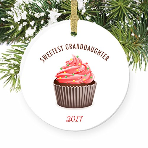 Cupcake Christmas Ornament for Granddaughter 2017, Sweetest Grand Daughter Present for Baby Child Little Girl Adoption Surprise Cute Tree Ceramic 3