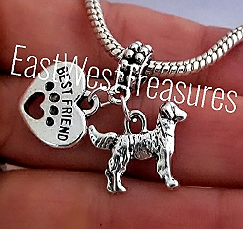- EWT Lab Labrador Golden Retriever dog, paw prints on heart dog jewelry charm pendant-fits all DIY charm bracelets necklaces Expandable wire bracelets