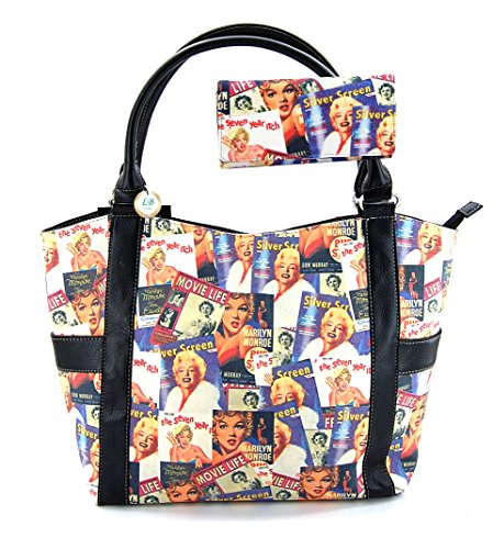 Marilyn Monroe Collage Large Purse Tote Bag Style, Plus Keychain, MM614-SET (Black)