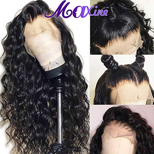 Maxine Water Wave Wig 360 Lace Frontal Wig Pre Plucked with Baby Hair Wet and Wavy Human Hair Wig for Black Women(26inch) ()