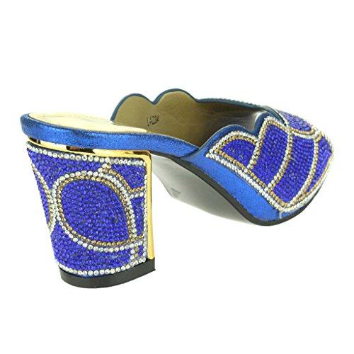 Mujer Señoras Cristal Adornado Talón medio del bloque Peep Toe Ponerse Noche Boda Fiesta Paseo Sandalias Zapatos Tamaño Azul oscuro
