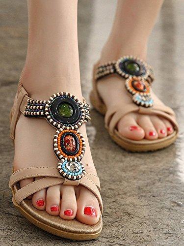 Strap Sandal Women's Flat Beige Chickle 5 9 US Beaded ztxXBq