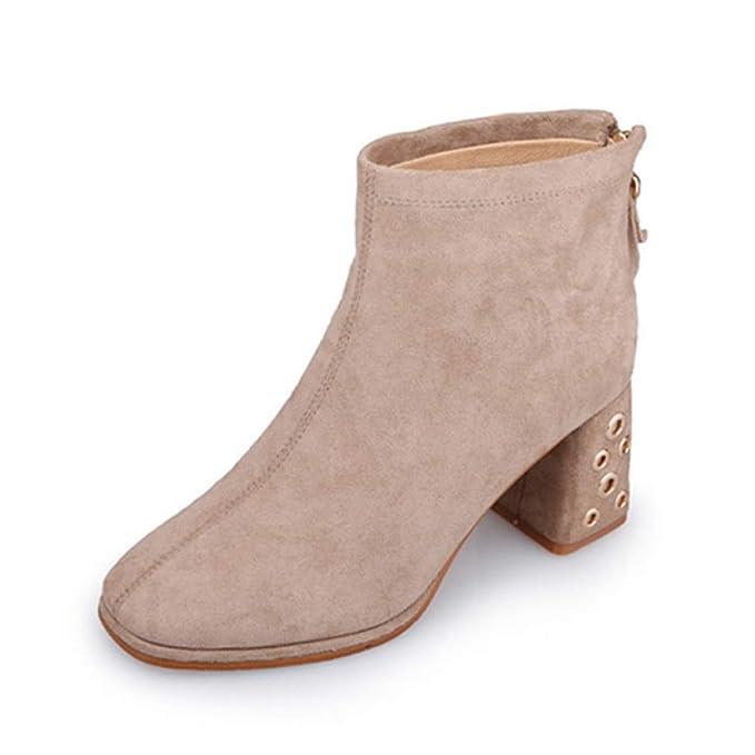 HGDR Botas De Tobillo Chelsea Para Mujer De Gamuza De Punta Cuadrada Bloquear Zapatos De Tacón Alto Volver Cremallera Señoras Vestido De Oficina Fiesta Boda ...