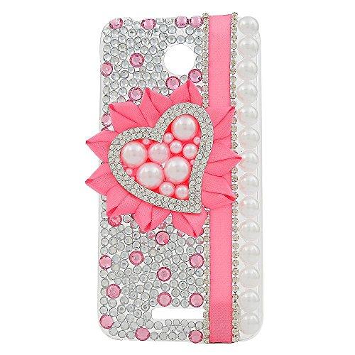 Eel Camel (KAKA(TM HTC case,HTC M9 Plus Case Creative Design Clear Case Bling Glitter with Rhinestone Pink Silk Ribbon Pearls Heart Shape Pattern)