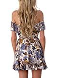 Simplee Apparel Womens Lace up Halter Off Shoulder Floral Print Party Dress Sundress