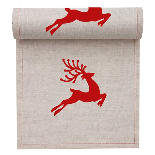 MYdrap SLA11N2/103-2 Holiday Printed Cocktail Napkin, 4.5'' Length x 4.5'' Width, Natural with Red Reindeer (10 Rolls of 50)