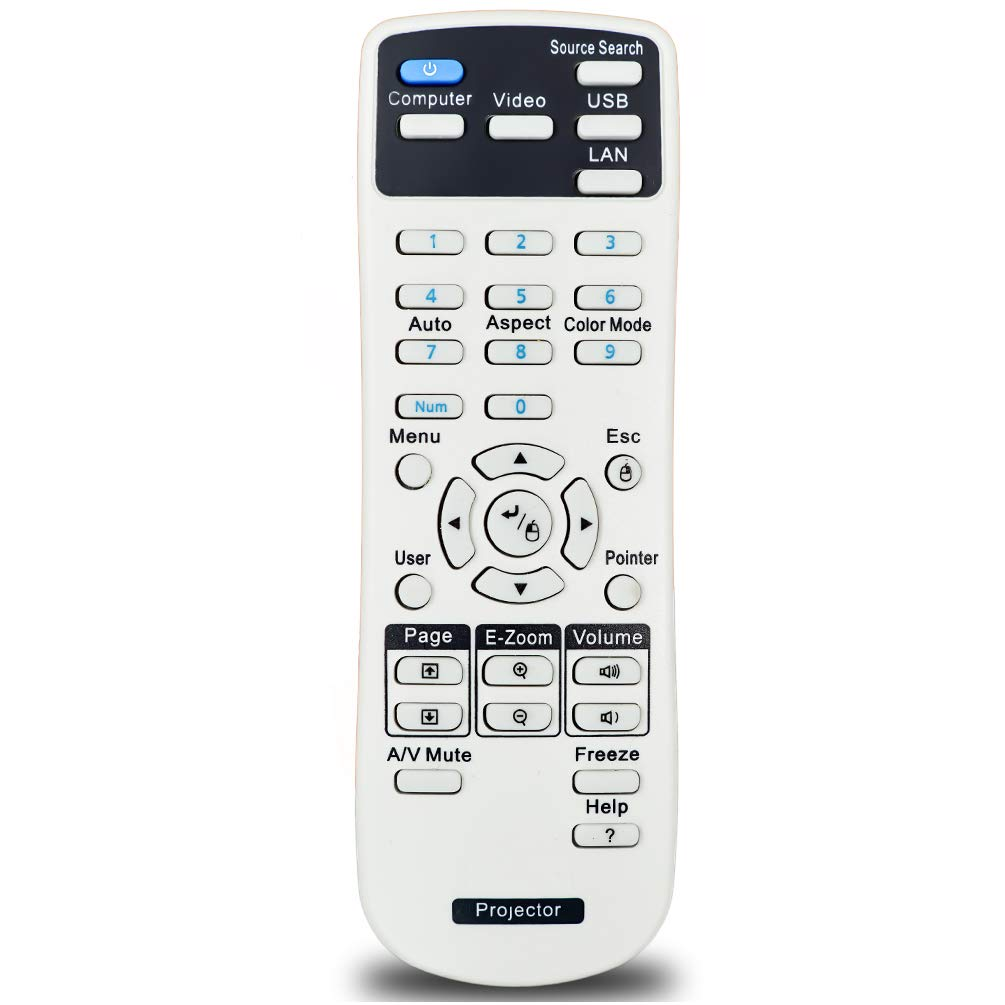InTeching 1566090/1566064 Projector Remote Control for Epson Pro Cinema 1985, PowerLite 1751, PowerLite 1761W/ 1771W/ 1776W/ 1930/1935/ 1940W/ 1945W/ 1955/1950/ 1960/1965/ 1975W/ 1980WU/ 1985WU by INTECHING