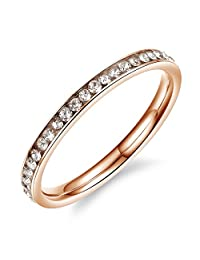 Mintik Womens CZ Eternity Ring Engagement Wedding Band Anniversary Engagement Promise Tail Ring Size 4 to 8