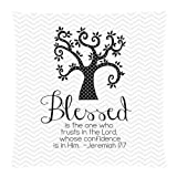 Teal and White Chevron Pattern Bible Verse Pillowcase, Blessed Is the One Who Trusts in the Lord Whose Confidence is in Him Jeremiah 17:7 Cushion Case – Decorative Square Throw Pillow Cover Cushion Case Pillowcase with Hidden Zipper Closure – 18×18 inches, One-sided Print