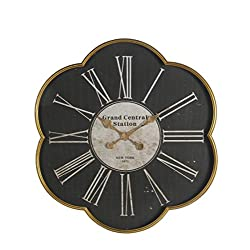 Metal Wall Clocks Grand Central Antique Finish Scalloped Wall Clock 30 Inch 30 X 28 X 3 Inches Black