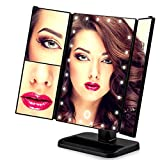 BeautyGL (April,2018 Upgraded 24 Led)Adjustable Professional High Magnifying Led Lights Square Makeup Mirror For Ladies,Led Lights Illuminated Personal Cosmetic Beauty Makeup Mirror(Black)