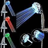LEDシャワーヘッド LED内蔵シャワーヘッド 温度制御発光 鮮やかな3色光が自由的に変化する 水圧発電 シャワーヘッド取り替えも簡単設置 (3色)