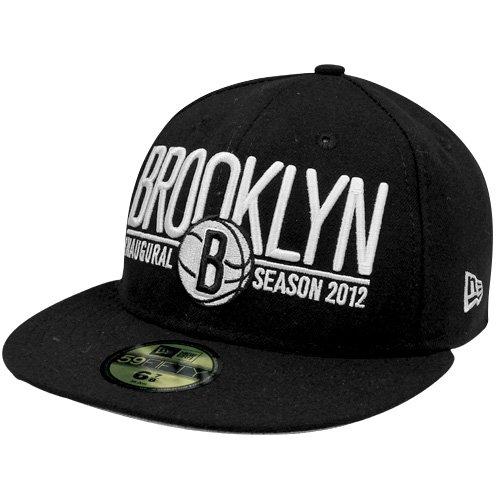 NBA New Era Brooklyn Nets Inaugural Basic Logo Fitted 59FIFTY Hat - Black (7 1/4) ()