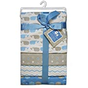 CRIBMATES Petite L'Amour Receiving Blankets Baby Boys Whale Pals