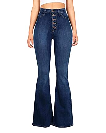 5acdd7891a3 Quge Women s High Waist Loose Straight Wide Leg Button Jeans Washed Denim  Full Length  Amazon.co.uk  Clothing