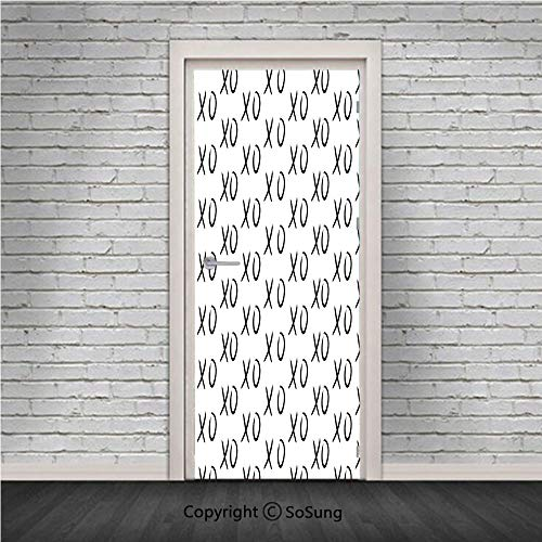 (Xo Decor Door Wall Mural Wallpaper Stickers,Hugs and Kisses Pattern Love You Symbol Affection Expression Sign Artsy Print,Vinyl Removable 3D Decals 30.4x78.7/2 Pieces Set,for Home Decor Black White)