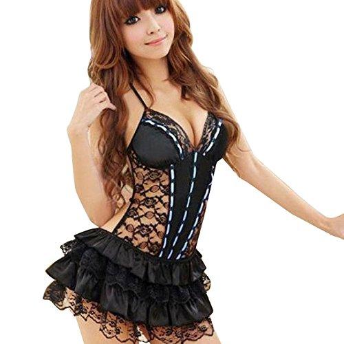 ❤️Vestido de tanga de encaje sin espalda de encaje sexy lencería sin espalda de muñeca picardías sexy mujer Lencería de cosplay Ropa Interior Babydoll de ...