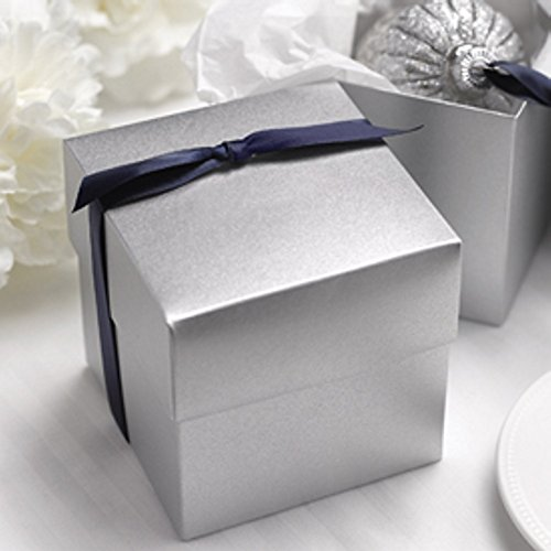 Silver Shimmer Two Piece Cupcake Boxes - 4x4x4 - Package of 25 (Two Favor Piece Boxes)