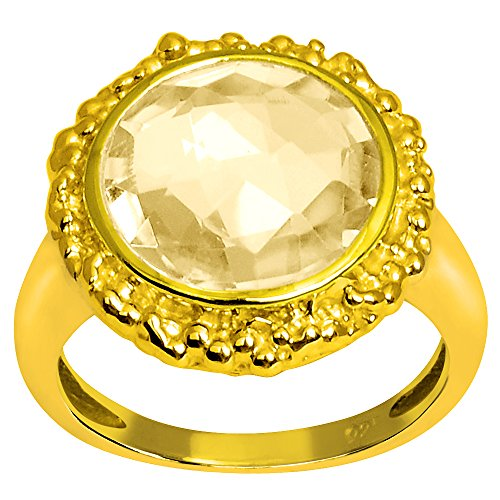 Orchid Jewelry Genuine Citrine 14k Gold Overlay 925 Sterling Silver Ring for Women and Girls, November Birthstone, Perfect for Engagement, Anniversary, Wedding (12MM Checkerboard Round)