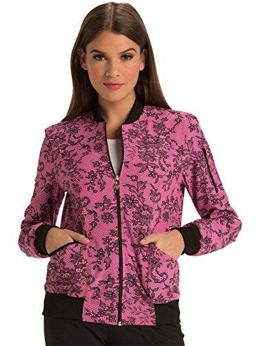 HeartSoul Women's Zip Front Lace Print Bomber Scrub Jacket XX-Small Print