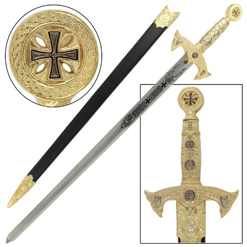 Knights Templar Medieval Replica Longsword Gold (Replica Medieval Weapons)