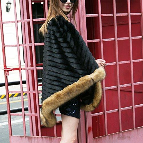 chales Noir fourrure poncho fourrure Warming iBaste cape sexy moderne femmes hiver 2017 nouvelles automne F7xqgp