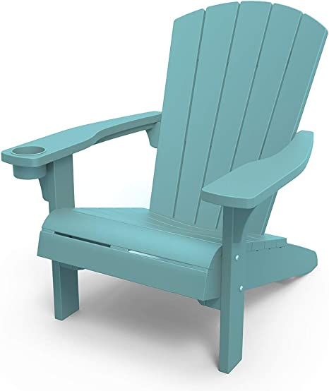 Keter Furniture Patio Chairs With Cup Holder Perfect For Beach Pool And Fire Pit Seating Teal Garden Outdoor